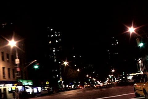 Night shot of New York traffic Stock Video Footage