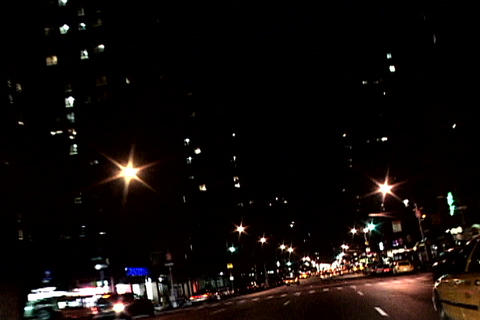 Night shot of New York traffic Footage