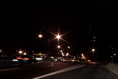 Wide shot of New York traffic at night Footage