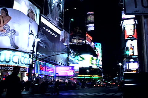 Times Square buildings at night 2 Footage