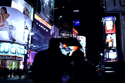 Times Square buildings at night 2 Stock Video Footage