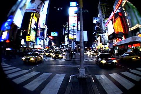 Times Square walkway traffic fish-eye shot Stock Video Footage
