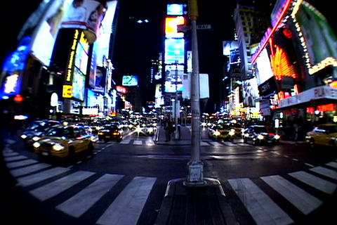 Times Square walkway traffic fish-eye shot Footage