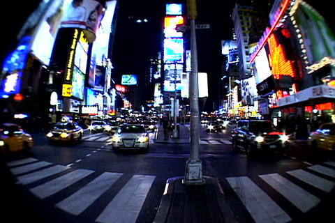 Times Square walkway traffic fish-eye shot Stock Video Footage