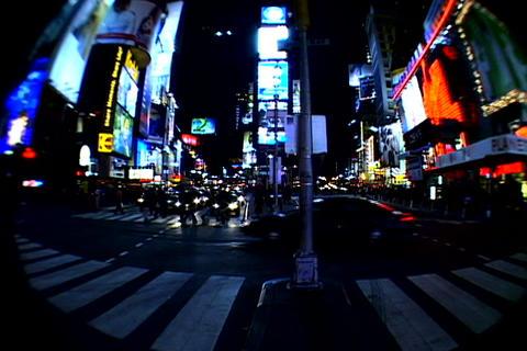 Times Square walkway traffic fish-eye shot 2 Stock Video Footage