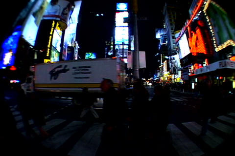 Times Square walkway traffic fish-eye shot 2 Stock Video Footage