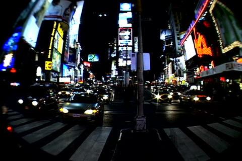 Times Square walkway traffic_fish-eye shot 4 Stock Video Footage