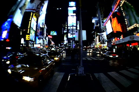 Times Square walkway traffic_fish-eye shot 4 Footage