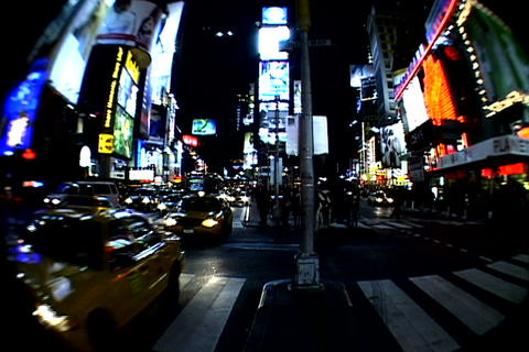Times Square walkway traffic_fish-eye Footage