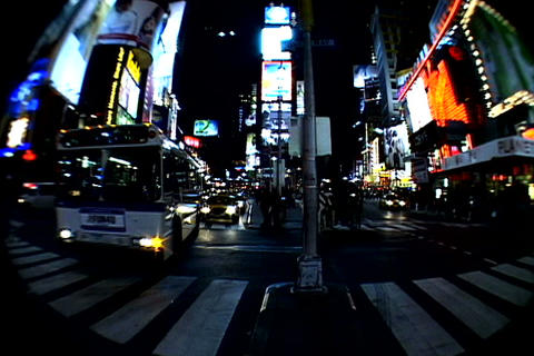 Times Square walkway traffic_fish-eye Stock Video Footage