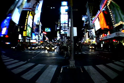 Times Square walkway traffic_fish-eye Stock Video Footage