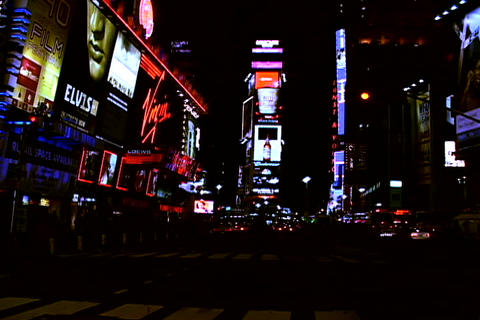 Times Square traffic at night Stock Video Footage