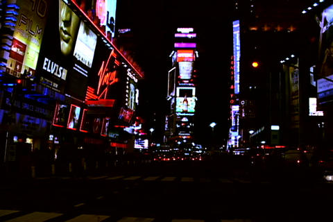 Times Square traffic at night Footage