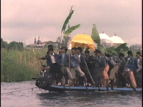 Men and women celebrate the Long Boat Festival Stock Video Footage