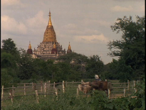 An ancient Buddhist temple juts up from the horizon in Burma Footage