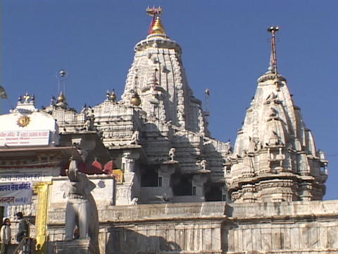 Birds fly out from a Hindu temple Stock Video Footage