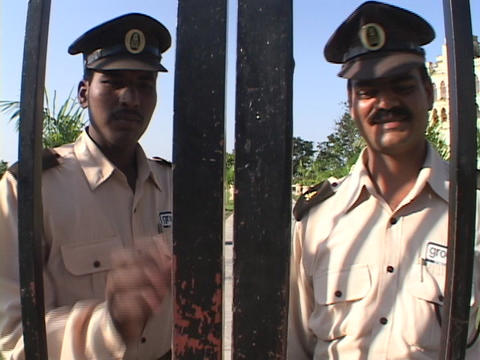 guards open the palace gates Stock Video Footage