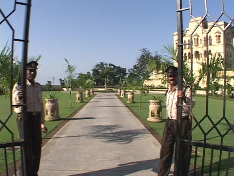 guards open the palace gates Footage