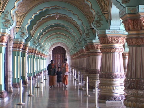 Indians walk through a Maharaja palace in India Stock Video Footage
