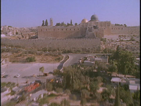 The Temple Mount towers over Jerusalem in this... Stock Video Footage