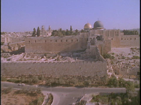 The Temple Mount towers over Jerusalem in this spectacular aerial shot Footage