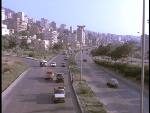 Traffic moves along a highway in East Beirut, Lebanon Stock Video Footage