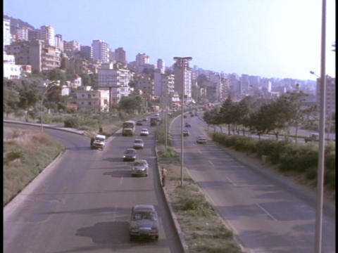 Traffic moves along a highway in East Beirut, Lebanon Footage