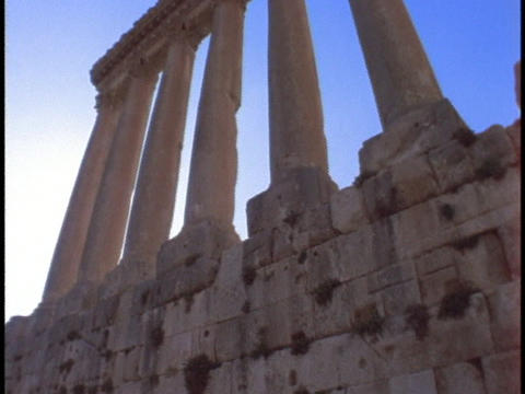 Ancient roman pillars stand in Baalbek Stock Video Footage