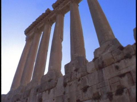 Ancient roman pillars stand in Baalbek Stock Video Footage