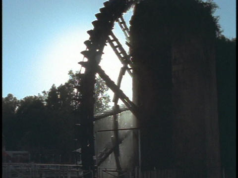 A waterwheel turns at a mill in Hama, Syria Footage