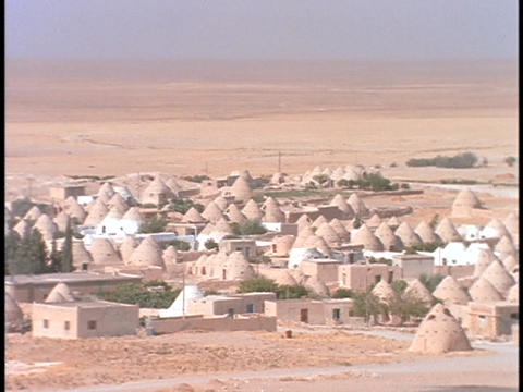 Domed mud houses sit in a village in the desert Footage