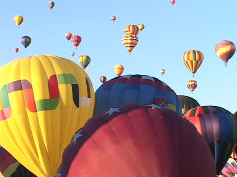 Hot air balloons take off at the Albuquerque Balloon... Stock Video Footage