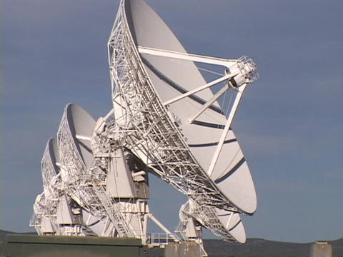 A satellite dish slowly moves at Very Large Array, New... Stock Video Footage