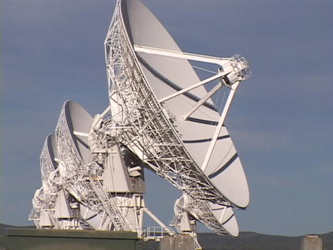 A satellite dish slowly moves at Very Large Array, New Mexico Footage