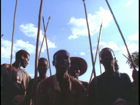 Tribal natives dance and chant together Stock Video Footage