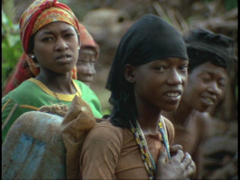 African young women smile shyly Stock Video Footage