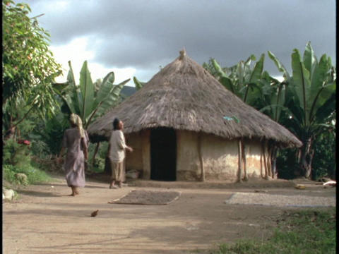 A family of Africans walk toward a thatch roofed hut Footage