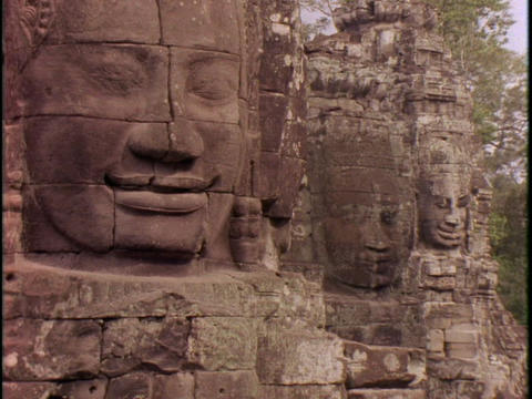Stone faces peer out of Angkor Wat Footage