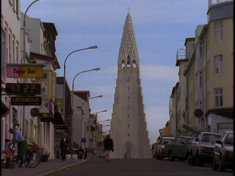 A tower stands in Reykjavik, Iceland Stock Video Footage