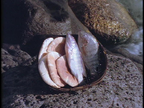 Loaves and fish sit in a bowl on a rock next to the Sea of Galilee Footage