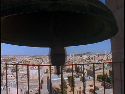 A large bell rings overlooking the Holy land Footage