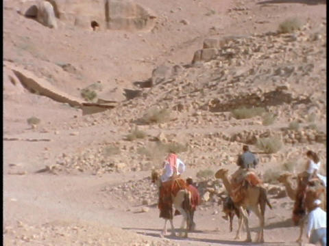 People ride on camels to ruins in Petra, Jordan Stock Video Footage