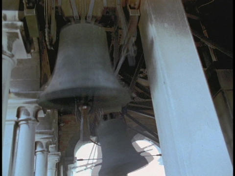 Bells ring in a bell tower Stock Video Footage