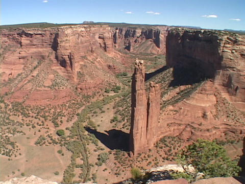 A giant spire juts up in the Canyon de Chelly in New Mexico, Live Action