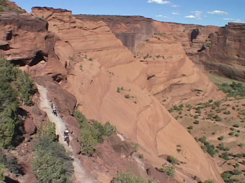 Horses and riders move up a canyon trail Stock Video Footage
