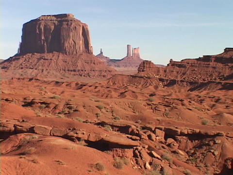 Rocky buttes cover the landscape in Monument Valley, Utah Footage