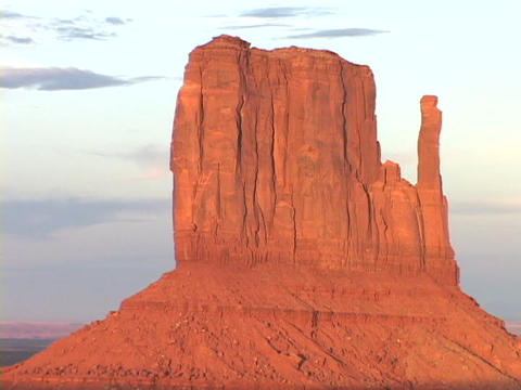 The East Mitten Butte stands tall in the desert Footage