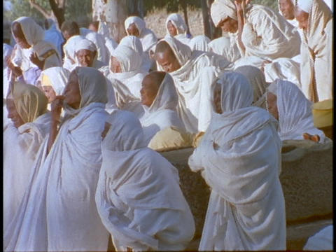 Ethiopian Coptic priests and other worshipers pray in... Stock Video Footage