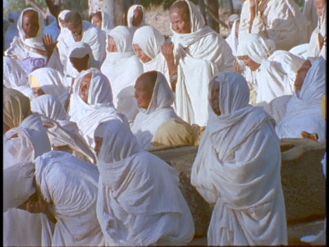 Ethiopian Coptic priests and other worshipers pray in Axum, Ethiopia Footage