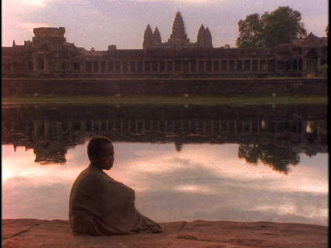 The Angkor Wat Temple reflects in a pond Footage